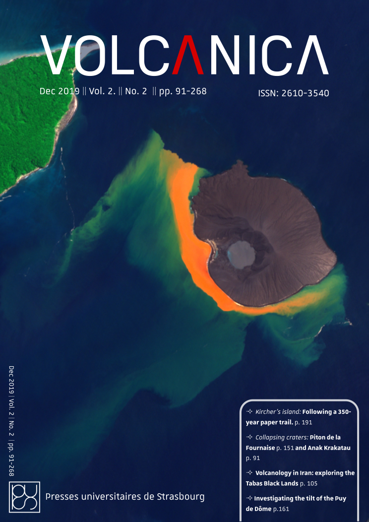 Front cover of Volcanica 2(2): Satellite image of Anak Krakatau volcano. Credit:European Union [2019], contains modified Copernicus Sentinel imagery, processed by Annamaria Luongo/SpaceTec Partners
