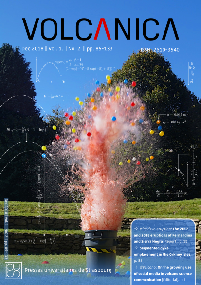 "Front cover of Volcanica 1(2): ""Trashcano"" analogue experiment demonstrating explosive volcanism by Chris Dalby"