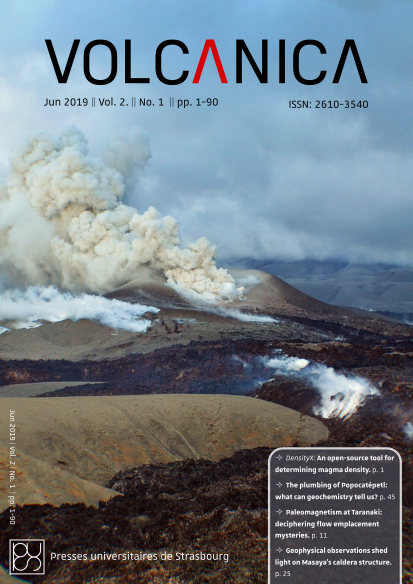 Front cover of Volcanica 2(1): Hybrid explosive-effusive activity at Cordon-Caulle by Dr C. Ian Schipper