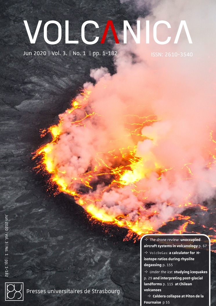 Front cover of Volcanica 3(1): Lava lake spattering in the Nyiragongo crater, DRC. Photograph by Benoît Smets.
